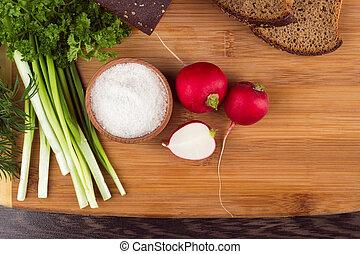 vegetarian food - Healthy vegetarian food. Radishes,...