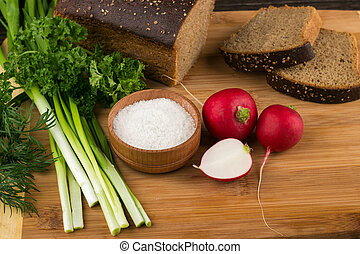 vegetarian food - Healthy vegetarian food Radishes, parsley,...