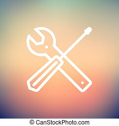 Screw driver and wrench tools thin line icon - Screw driver...