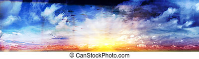 Sky art. Canvas vintage background