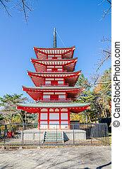 Chureito Peace Pagoda against blue sky