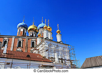 Churches restoration - Orthodox church in scaffolding for...