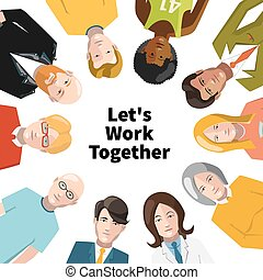 International group of people working in team illustration