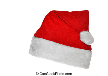 Santas red hat  - Red santa claus hat over white background