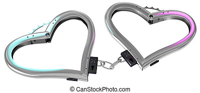 handcuff of love - 3d handcuffs. White background.