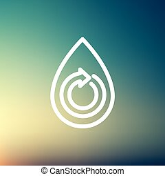 Water drop with spiral arrow thin line icon - Water drop...