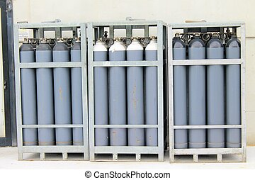 cylinder of oxygen and nitrogen outside of a factory