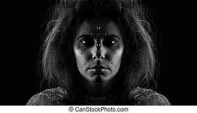 Portrait of witch over dark background (warning! you can...