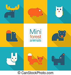 minimal forest animals - icon set of forest animals