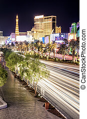 Las Vegas City Strip. High Point Shot. Blurred Motion. Long...