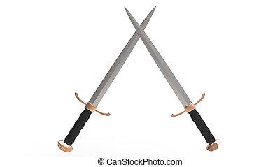 crossed medieval two-edged swords - two crossed medieval...