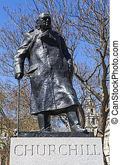 Sir Winston Churchill Statue in London - A statue of...