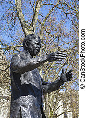 Nelson, Mandela, estátua, em, parlamento, quadrado,...