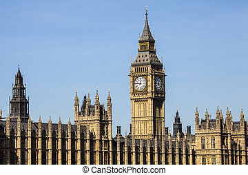Houses of Parliament in London - A view of the iconic clock...