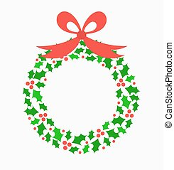Holly wreath - Holly berry Christmas wreath. Vector...