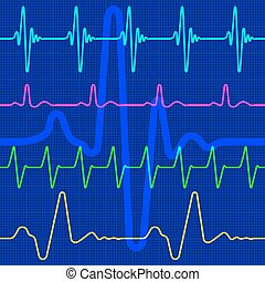 Cardiogram - A set of the cardiograms as a seamless pattern,...