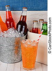 Soda Still Life - An ice bucket full of soda bottles, a six...