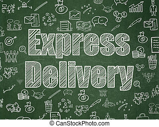 Business concept: Express Delivery on School Board background