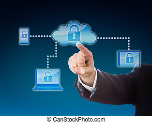 Cloud Computing Security Metaphor In Blue - Cloud computing...