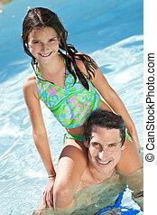 spalle, suo, figlia, padre, stagno, nuoto