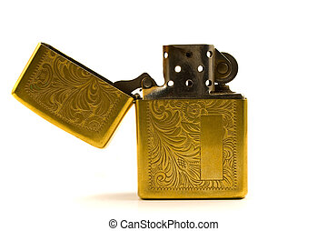 Lighter - A golden lighter whith open lid and medieval...