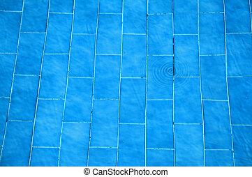 bottom swimming pool blue tiles