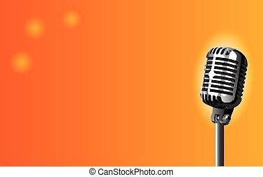 Microphone on Stage - A stage microphone set on an orange...