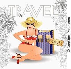 Summer travel pin up girl, vector illustration