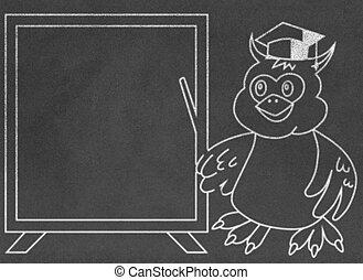 Wise owl teacher on chalkboard