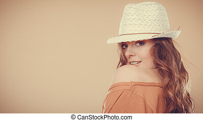 Lovely girl in summer clothes bright straw hat - Summer...