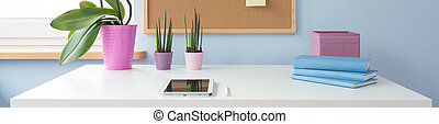 Desk in students room - Houseplant on the desk in students...