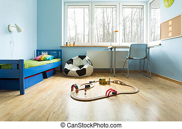 Blue walls in boy's room - Blue painted walls in designed...