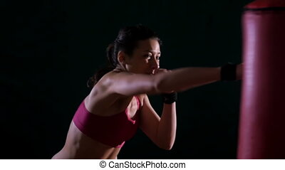 woman boxing slow motion - sport workout,young woman boxing...