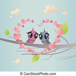 Two Enamoured Birdies - The vector illustration of Pair of...