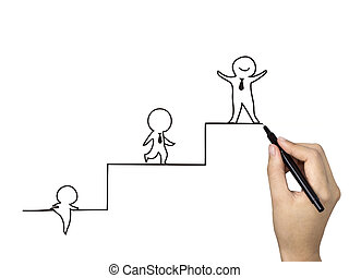 little businessman climbing up stairs drawn by human hand...