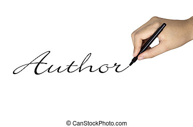 author word written by human hand over white