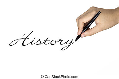 history word written by human hand over white
