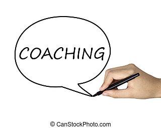 coaching word written by human hand