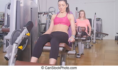 woman exercising legs quadriceps - fitness workout...