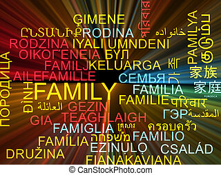 Family multilanguage wordcloud background concept glowing