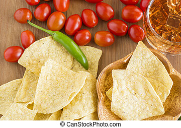 Tortilla chips - Tortilla chips in a wood