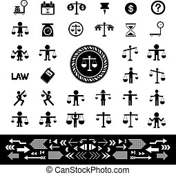 scales justice icon set - scales justice vector  icon set
