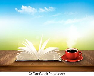 Open book and red cup on a wooden deck with green and blue backdrop. Vector.