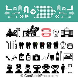 vector dental icon set - basic vector dental icon set