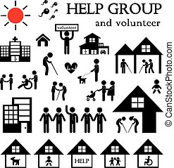 volunteer for non profit social service symbol set