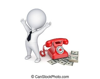 Contract concept - Happy 3d small person near telephone and...