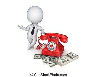 Vintage telephone and stack of money - 3d small person near...