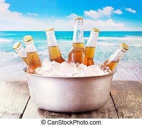balde, Cerveja, garrafas, gelado, gelo