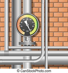 Pipes and manometer in a boiler room. Vector