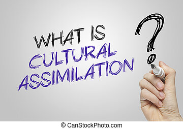 Hand writing what is cultural assimilation on grey...